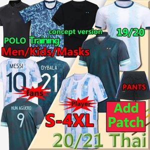 2020 2021 Argentina Messi Soccer Jersey Dybala di Maria Higuain Kun Aguero Lautaro Men + Kit Kit Kit Fútbol Polo Shirts Jersey Pantalones Máscaras