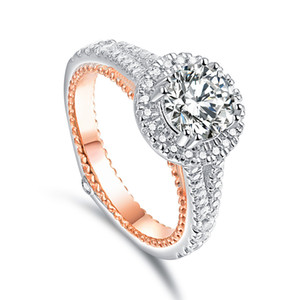 Foreign trade fashion two-color wedding ring female European and American diamond rose gold food pointed ring ring