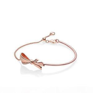 NEW 18K Rose gold Bow Hand Chain Original Box for Pandora 925 Sterling Silver Sparkling Bow Slider Bracelet for Women Girls Gift set