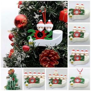 2020 Карантин Рождественские украшения Рождественские дни рождения Party Party Product Products Персонализированная семья из 4 Орнамент Пандемия с маскими лицами