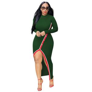 Moda painéis senhoras bydcon vestidos sexy mulheres split vestidos casuais mulheres vestidos magro mulheres designers roupas 2020