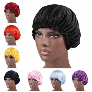 Tapa de ducha de encaje de seda Monocromo de las mujeres Nightcap de encaje Hombro de cuidado del cabello Satin Sleep Cap Hair Beauty Beauty Caps AHA2474