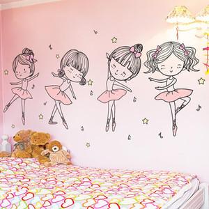 [SHIJUEHEZI] Ballet Dancer Wall Stickers DIY Cartoon Girl Dancing Wall Decals for Kids Room Baby Bedroom House Decoration
