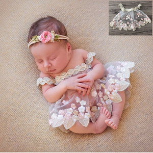 2020 Recém-Newborn Fotografia Adereços Renda Vestido Bordado Princesa Flokati Bebé Meninas Roupas Photo Booth Props Studio Acessórios C0126