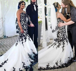 Sexy Black and White Retro Mermaid Plus size Wedding Dresses 2021 Applique Tulle Corset Court Train Country Wedding Bridal Gowns Dress