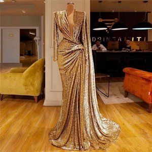 2021 Luxury Gold Sequined Evening Dresses With Deep V Neck Pleats Long Sleeves Mermaid Prom Gowns Dubai Arabic Cocktail Party Dress AL7796
