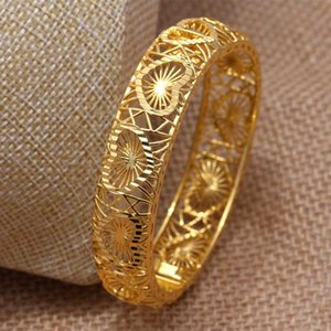 Annayoyo 24K Heart Gold Color Bangles Women Girl Love France Trendy fashion Jewelry for Africa India kids best gift