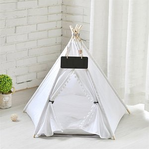 Pet Cat Dog Teepee with Cushion & Blackboard, Portable Dog Tents & Pet Houses, Wood Canvas Tipi Fold Pet Tent Small Animals Bed LJ201028