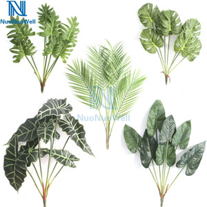 NuoNuoWell Artificial Bouquet Leaf Real Touch Monstera Branch Platic Palm Fern Leaves Faux Foliage Tropical Green Plant Z1119