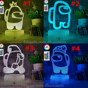Among us Led Lighted 3D Illusion Desktop Lamp Creative Crack Base With Remote Control Bedside Night Lamps DHL Free