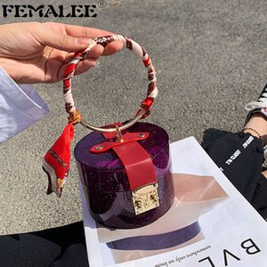 Mini cubo de verano con bufanda de seda Mujeres de moda Tote Bolsos Chicas Transparentes Bolsas de jalea Personalidad Hebilla Bloqueo Bolsis Q1208
