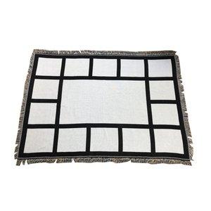 9 MANTES DE PESOS SUBLIMACIÓN Manta en blanco con borlas Negro Blanco Transferencia de calor Impresión de impresión de chal Sofá Sofá Tiro de dormir Mantas para DIY