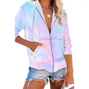 Paquete para mujer Ropa Tie Dye Impreso Abrigo para mujer Diseñador con capucha suelta para mujer Outerwear de moda Cárdigan de moda con