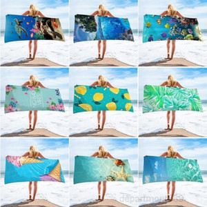 Ocean Printed Microfiber Beach Blankets Tassel Swimming Towel Thick Picnic Rugs Yoga Mats Letter Baseball 9 Designs OWA1022