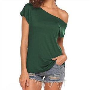 Una camiseta de la cuesta del hombro Tops Casual de un hombro Tops Tshirts Tshirts sueltas de verano Camisa de color sólido de las señoras