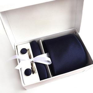 2017 New 100% Silk Men Neck Ties Clip Hanky Cufflinks sets Formal Wear Business Wedding Party woven Tie for Mens K07