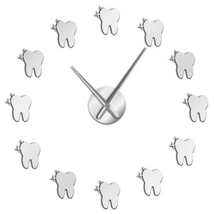 12 Teeth Sticker Dental Tooth Wall Art Modern Wall Clock Living Room Decorative Watch Ornament Hygienist Dentist Gift