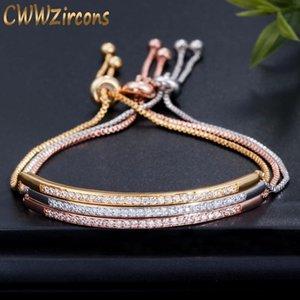CWWZircons Adjustable Bracelet Bangle for Women Captivate Bar Slider Brilliant CZ Rose Gold Color Jewelry Pulseira Feminia CB089 J1204