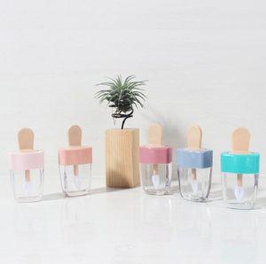 5ml colorés vide bricolage Lip Gloss bouteilles rose vert orange douce crème glacée Forme Mignon Lipgloss Rouge à lèvres Tube pour les filles BWF3127
