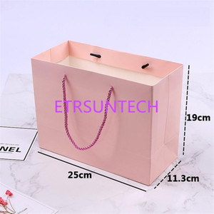 100pcs High quality Pink paper Gift bag with handle 25*11.3*19cm  wedding birthday party gift package bags   Christmas new year