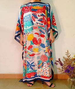 Этническая одежда 2021 летний отпуск печать цветочный пляж длинное платье женщин свободный шелк кафтан макси африканские платья для