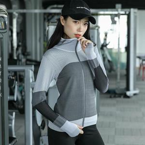 Women Hooded running jacket Long Sleeve Sweatshirt hoodie Ladies Yoga Tops Sports Zipper Jacket Fitness Gym Shirts Clothes