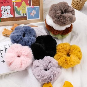New Soft Faux Fur Scrunchies For Women Elastic Hair Bands Rubber Bands Headwear Fashion Girls Ponytail Holder Hair Accessories