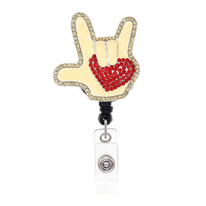 Custom I LOVE YOU Lovely Nurse ID Card Holder Retractable Rhinestone Heart Badge Reel