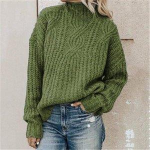Женщины крутить свитер мода тенденция с длинным рукавом высокие шеи вязание вершины дизайнер женский зима новый случайный свободный пуловер свитер