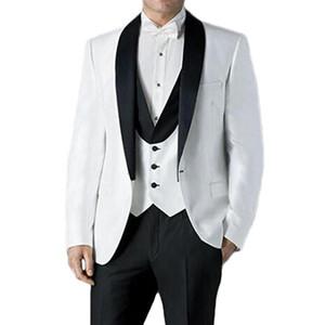 White Groom Tuxedos for Wedding Men Wear Shawl Lapel 3 Piece Evening Party Men Suits Set Jacket with Black Pants Vest Male Dress