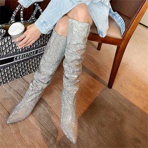 Proba Perfetto Mujeres puntiagudo Punta Bling Bling Sobre Rodilla Botas Rhinestone Crystal Long Toel Toel Boots Luxury Thin Heel Boots Y200723