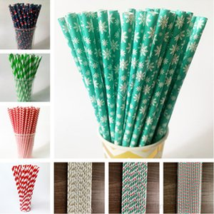 Multi Color Disposable Paper Drinking Straws Christmas Halloween Drink ucker Birthday Wedding Party Decoration Supply Bar Tool OWE1626