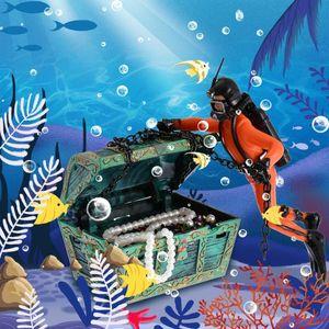 1Pcs Unique Design Treasure Diver Action Figure Fish Tank Ornament Landscape Aquarium Decoration Accessories