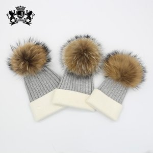 Babies Kids and Parents Winter Warm Knitted Hats with Real Fur Pompom Soft Angora Family Matching Beanies LJ201117