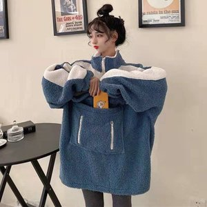 Lamb velvet sweater women's new 2020 autumn and winter Hong Kong style super fire design sense pocket high collar color block top