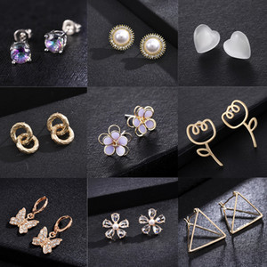 Simple woman new gold   silver glass flowers, fashion jewelry, imitation diamond earrings, gifts for wholesale