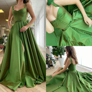 Green Evening Gowns Front Slit Sweetheart Sweep Train Satin A Line Prom Dresses Ruffles Vestidos Formal Robe De Soirée