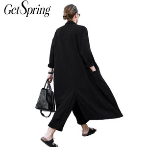 GETSRING Women Cardigan Loose Coat Split Black Chiffon Trench Coat Long Women Windbreaker Free Size Women Casual Wear 201120