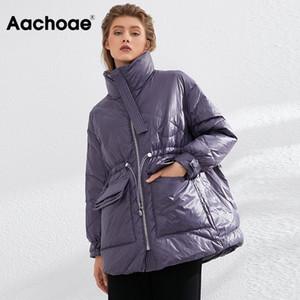 Aachoae Saf Kış Hafif Aşağı Ceket Kadınlar Kalın Sıcak Batwing Uzun Kollu Gevşek Doutoune Cep Ultra Işık Ördek Aşağı 201214