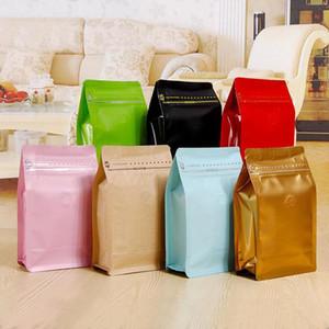 20 teile / los, Box Beutel Halbhund-Kaffeetasche mit Taschen-Reißverschluss und Einweg-Entgasungsventil, Aluminiumfolie-Luftventil-Pack-Tasche