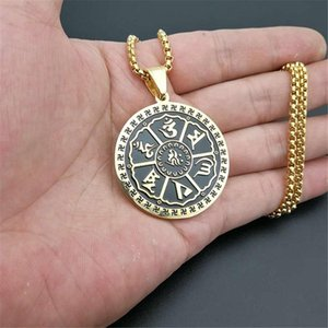 Буддийские шесть слов 'Sutra подвески ожерелье для мужчин из нержавеющей стали буддизм индуизма круглые ювелирные изделия Dropshipping