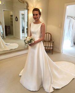 Cheapest Boho A-line Jewel Backless Wedding Dresses Chapel Train Satin bow Bridal Dress Bow On Back Country Wedding Bride Dresses