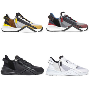 New FLOW Sneaker Mens Designer Trainers Zipper Nylon Sude Leather shoes Women Runner Shoes fashion casual shoes 259