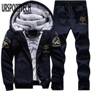 URSPORTTECH Tracksuit Men Fleece Thick Hooded Casual Track Suit Men Jacket+Pant Two Piece Set Warm Fur Inside Winter Sweatshirt
