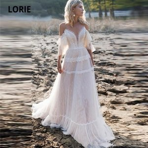 LORIE Bohemian Dresses 2020 Off Shoulder A Line Lace Appliqued Boho Wedding Lacing Plus Size Beach Bridal Gowns Q1110