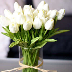 30Pcs Tulip Artificial Flower White PU Real Touch for Home Decoration Fake Tulips Latex Flowers Bouquet Wedding Garden Decor