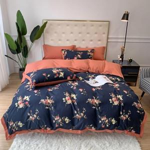 Rose Floral Duvet Cover Set 100%Cotton Girls Bedding set with Hidden Zipper Closure 4Pcs 1 duvet Cover 2 pillowcases 1 BedSheet