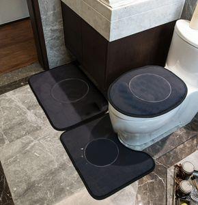 Instalaciones de asiento de inodoros de instintos Patrón de marea Mats de inodoro Inicio Hotel No resbalón Cuarto de baño Mat 3 PCS Alfombra alfombras Conjunto