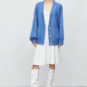 ZXQJ Femmes 2021 Fashion Boutons Coups de Cardigan Courties Courties Vintage à manches longues Femme Vêtements de dessus Chênes Chic