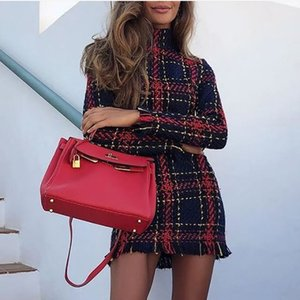 2020 European And American Popular Women Clothing Autumn And Winter New Fashionable Plaid Long Sleeve Slim Dress